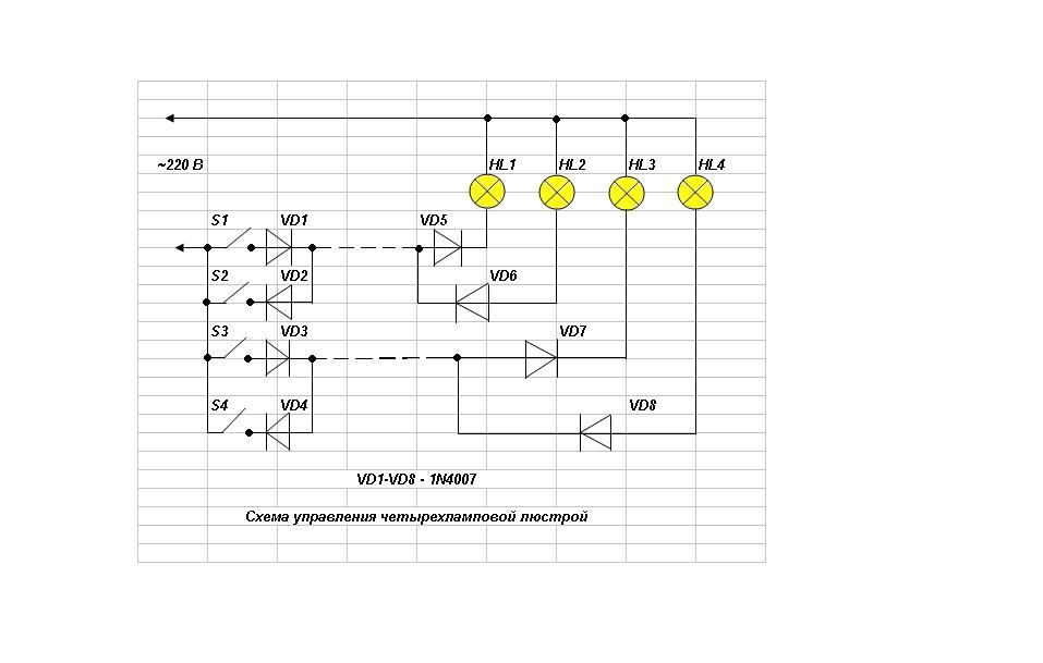 Схема люстры по одному проводу